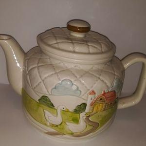 1983 otagiri teapot path to farmhouse with ducks ,